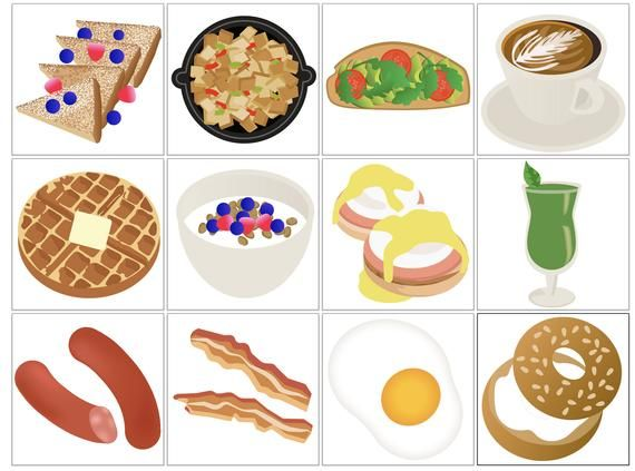 Classic printable icons . Brunch clipart breakfast food