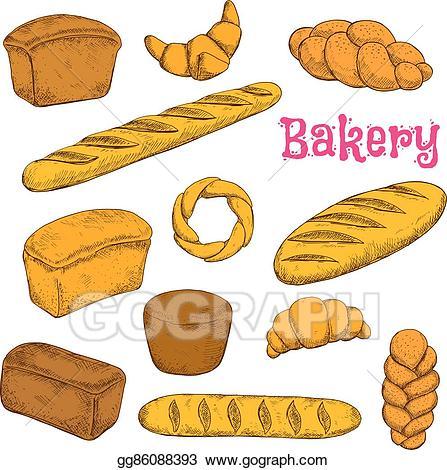 Vector illustration baked pastries. France clipart fresh bread