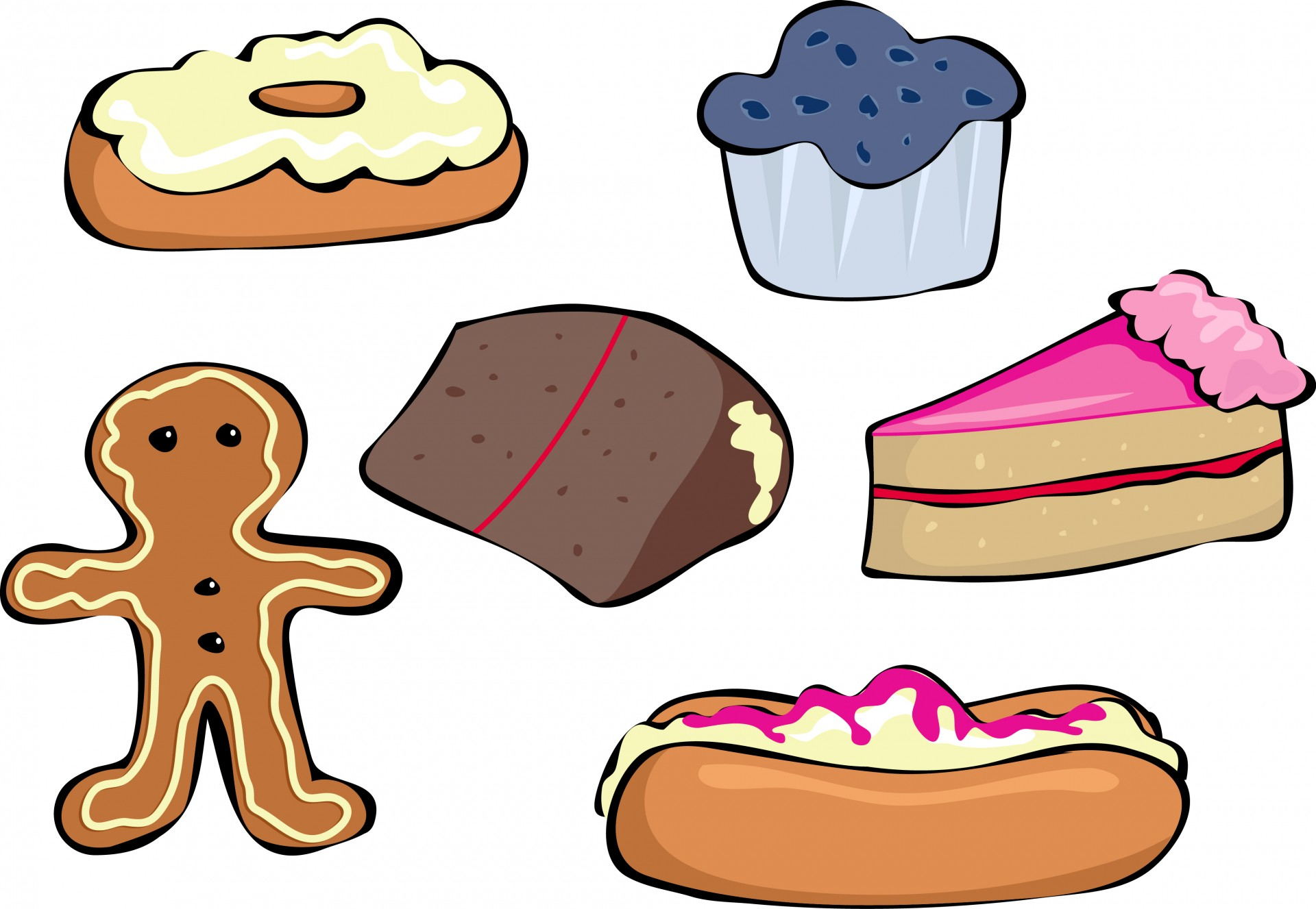 Cakes and buns free. Baked goods clipart baked sweet