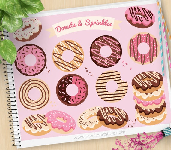 Baked goods clipart baked treat. Donuts and sprinkles doughnuts