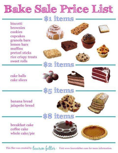 Bake sale price list. Baked goods clipart baked treat