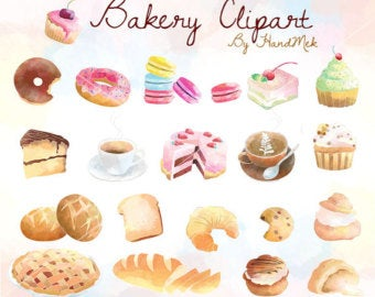 Bakery etsy . Baked goods clipart baked treat