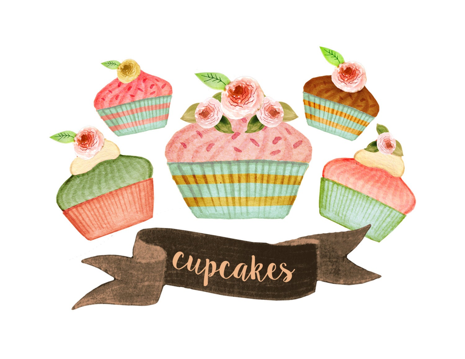 Cupcake tea party cakes. Baked goods clipart bakery