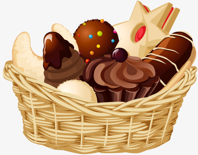 Bake biscuits cake basket. Baked goods clipart biscuit