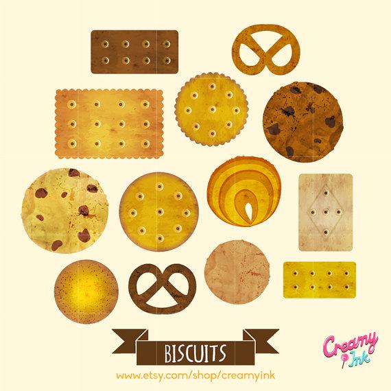 Cookie digital vector clip. Baked goods clipart biscuit