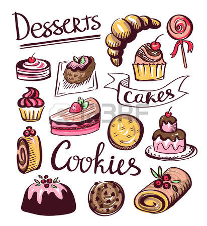 Pencil and in color. Baked goods clipart biscuit