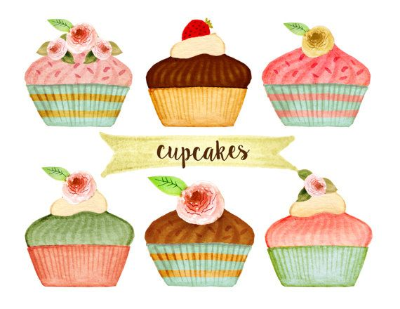 Cupcake bakery tea party. Baked goods clipart cake
