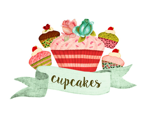 Cupcake bake party watercolor. Baked goods clipart cake