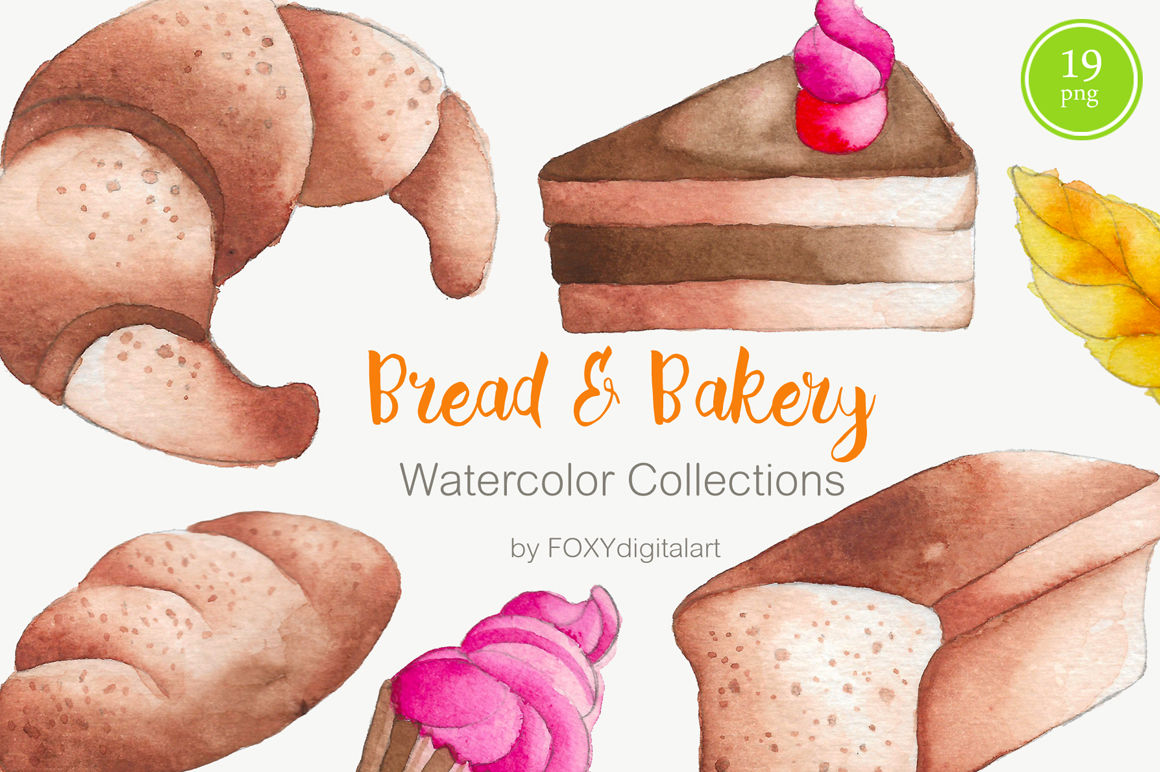Baked goods clipart cake. Bread bakery watercolor by