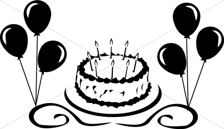 Baked goods clipart church. Birthday cake with balloons