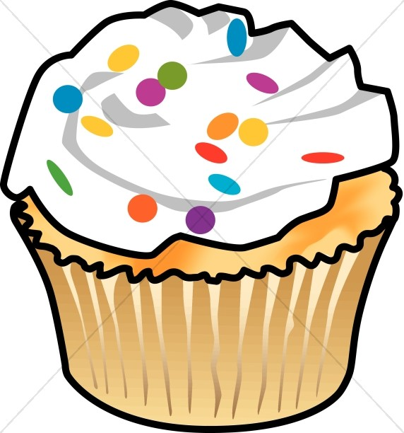 Cupcake and colorful frosting. Baked goods clipart church