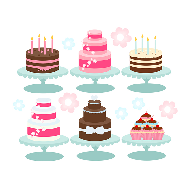 Clipart cake display. Bakery cliparts cakes