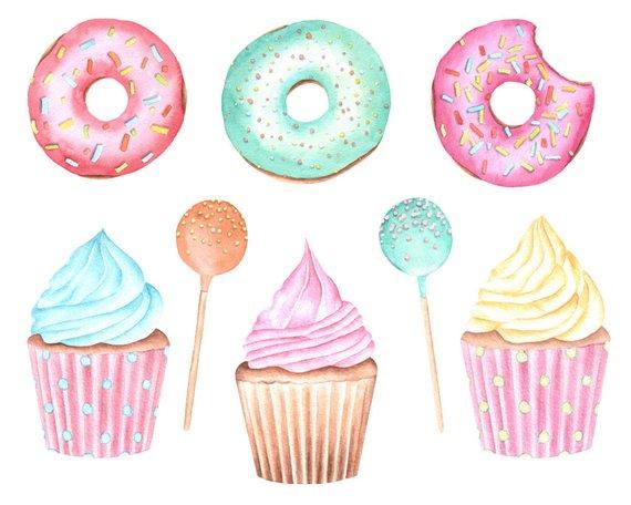 Cupcake ice cream watercolor. Donut clipart donut cake