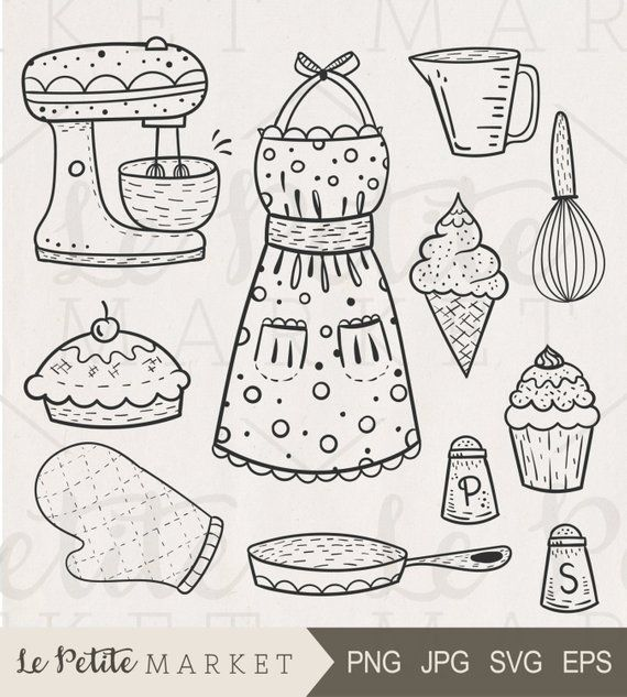 Cute hand drawn baking. Baked goods clipart drawing