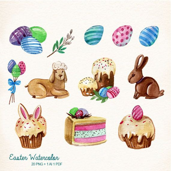 Watercolor bunny egg. Baked goods clipart easter