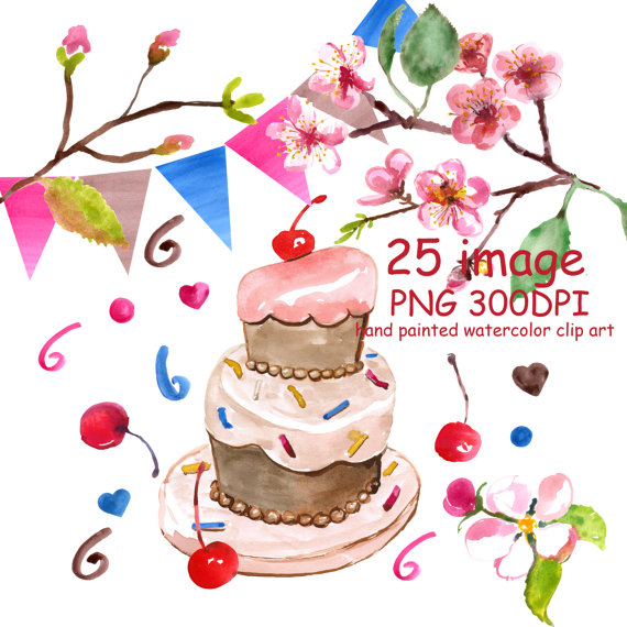 Baked goods clipart easter. Watercolor clipar birthday cherry