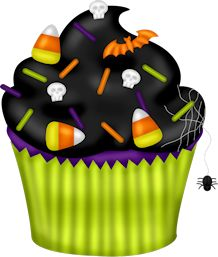 Baked goods clipart halloween. Hallowen spooky cupcake with