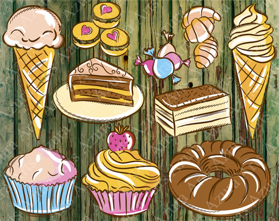 Hand painted sweets cake. Baked goods clipart kid