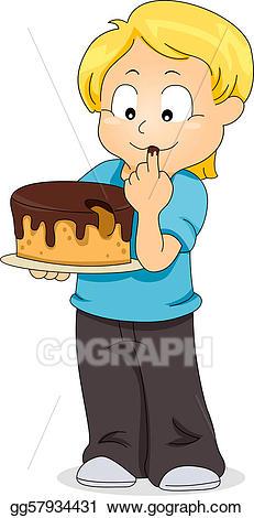 Tasting cake stock illustration. Taste clipart kid