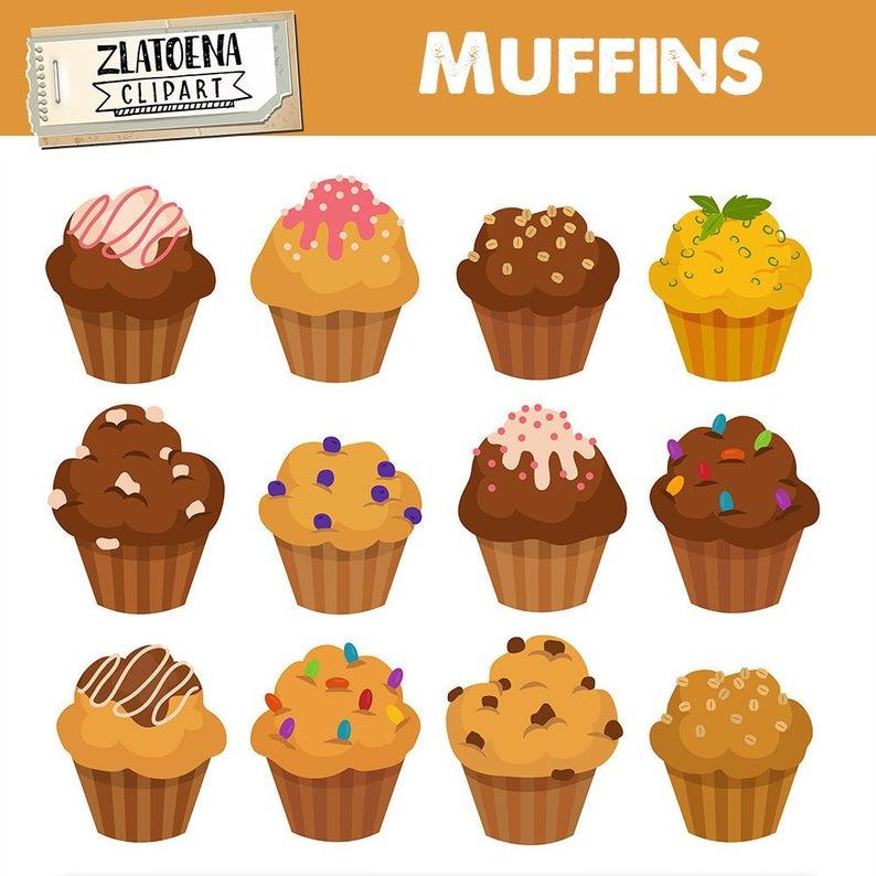 Muffins cupcake digital bakery. Baking clipart muffin