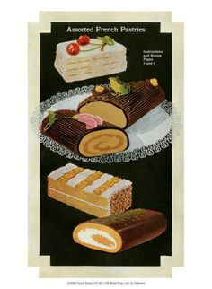 French recipe vintage baking. Baked goods clipart pastry
