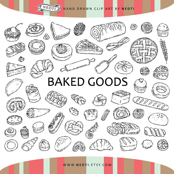 doodle elements clip. Baked goods clipart pastry