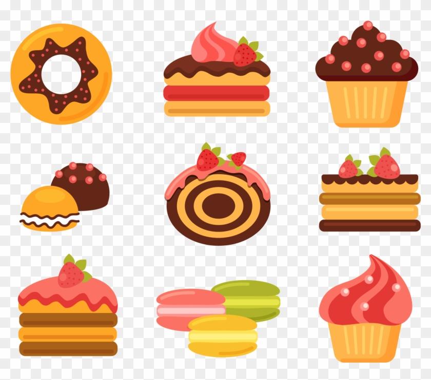 Bakery cupcake doughnut cuisine. Baked goods clipart pastry