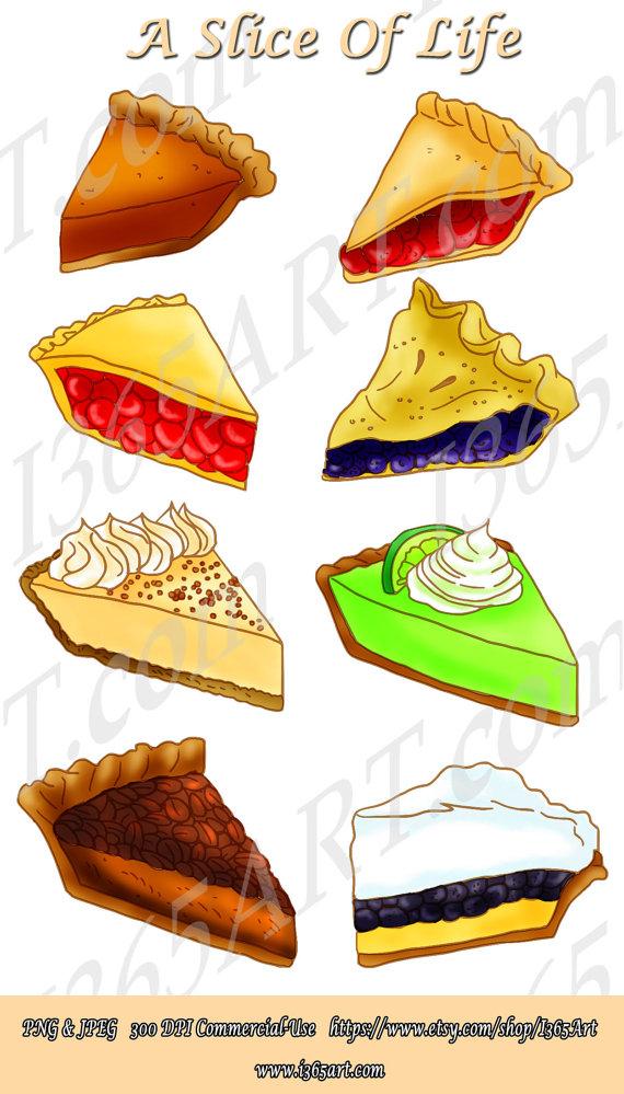 Baked goods clipart pie. Slice dessert digital scrapbooking