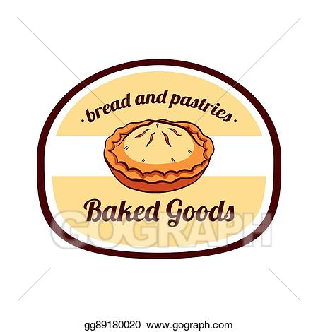 Vector stock sticker illustration. Baked goods clipart pie