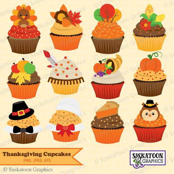 Clipart cake thanksgiving. Cute cupcake instant download