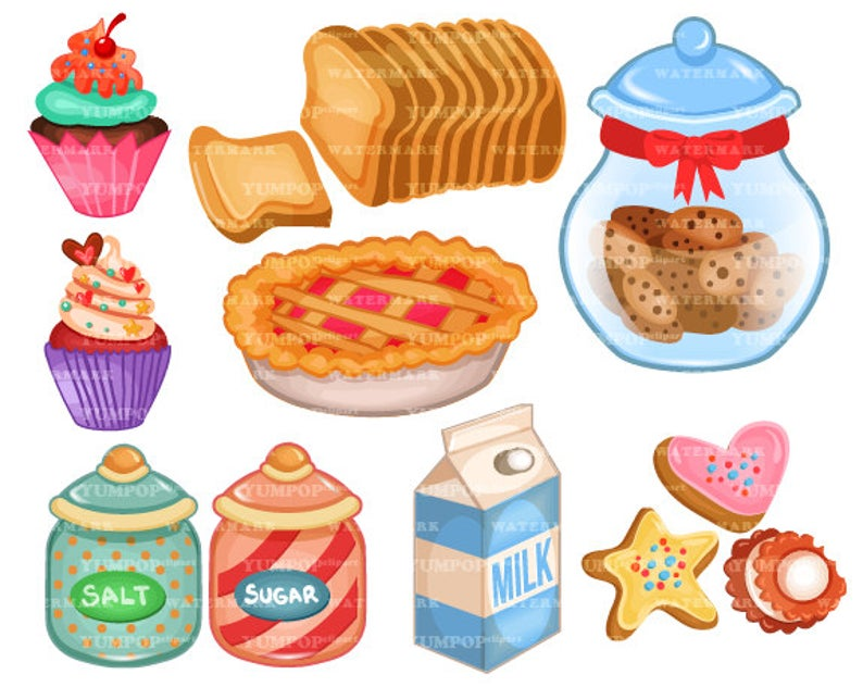 Bakery clipart baked goods. Baking and supplies culinary