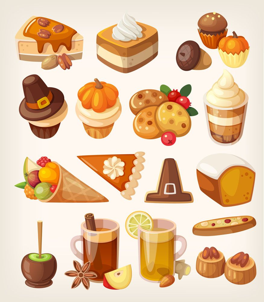 Thanksgiving food and drink. Desserts clipart holiday dessert