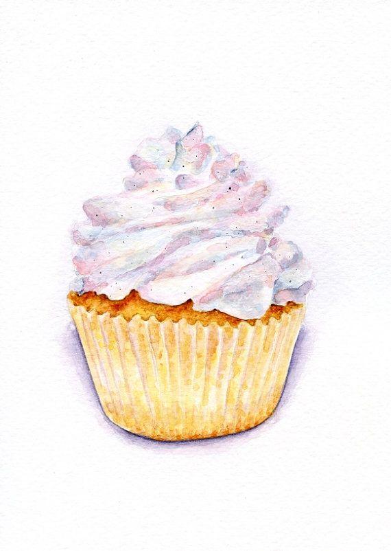 Very original painting vintage. Baked goods clipart vanilla cupcake