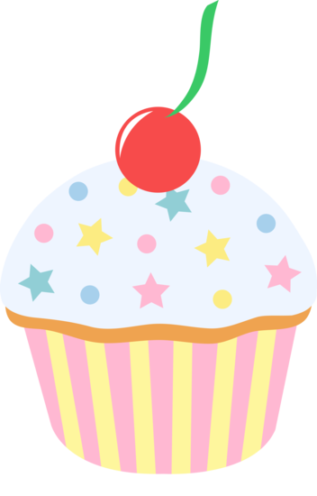Sprinkled with cherry stone. Baked goods clipart vanilla cupcake