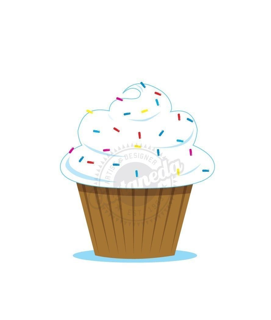 Baked goods clipart vanilla cupcake. With sprinkles via etsy