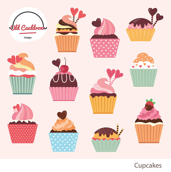 Cupcake clipart collage. Cupcakes commercial use sweets