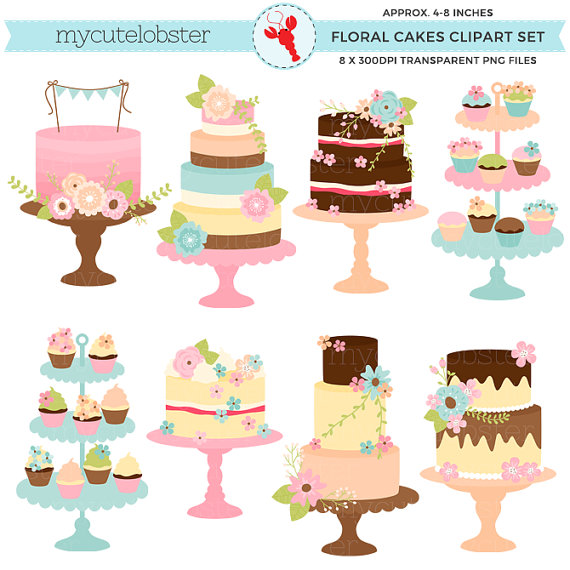 Vintage cakes set with. Cake clipart floral