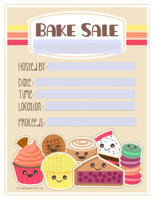 Baked goods clipart youth. Bake sale printable labels