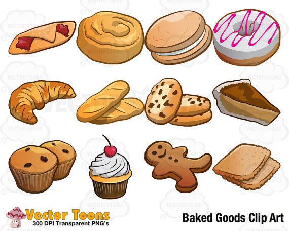 Clip art digital graphics. Baked goods clipart