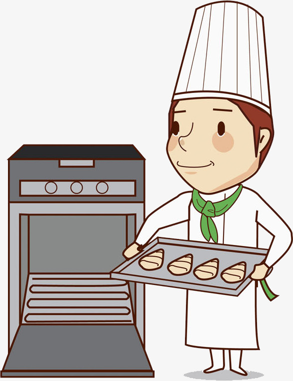 Baker clipart. Hand painted cartoon watercolor