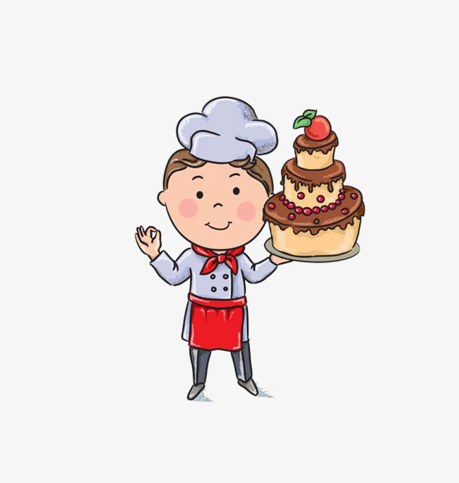 Cartoon cake master dessert. Baker clipart animated