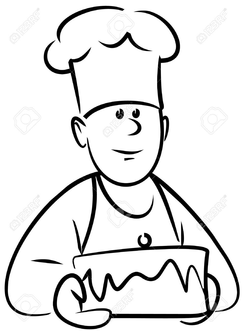 Bakery clipart baker.  with cake vector
