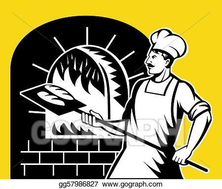 Baker clipart baker oven. Stock illustration holding baking