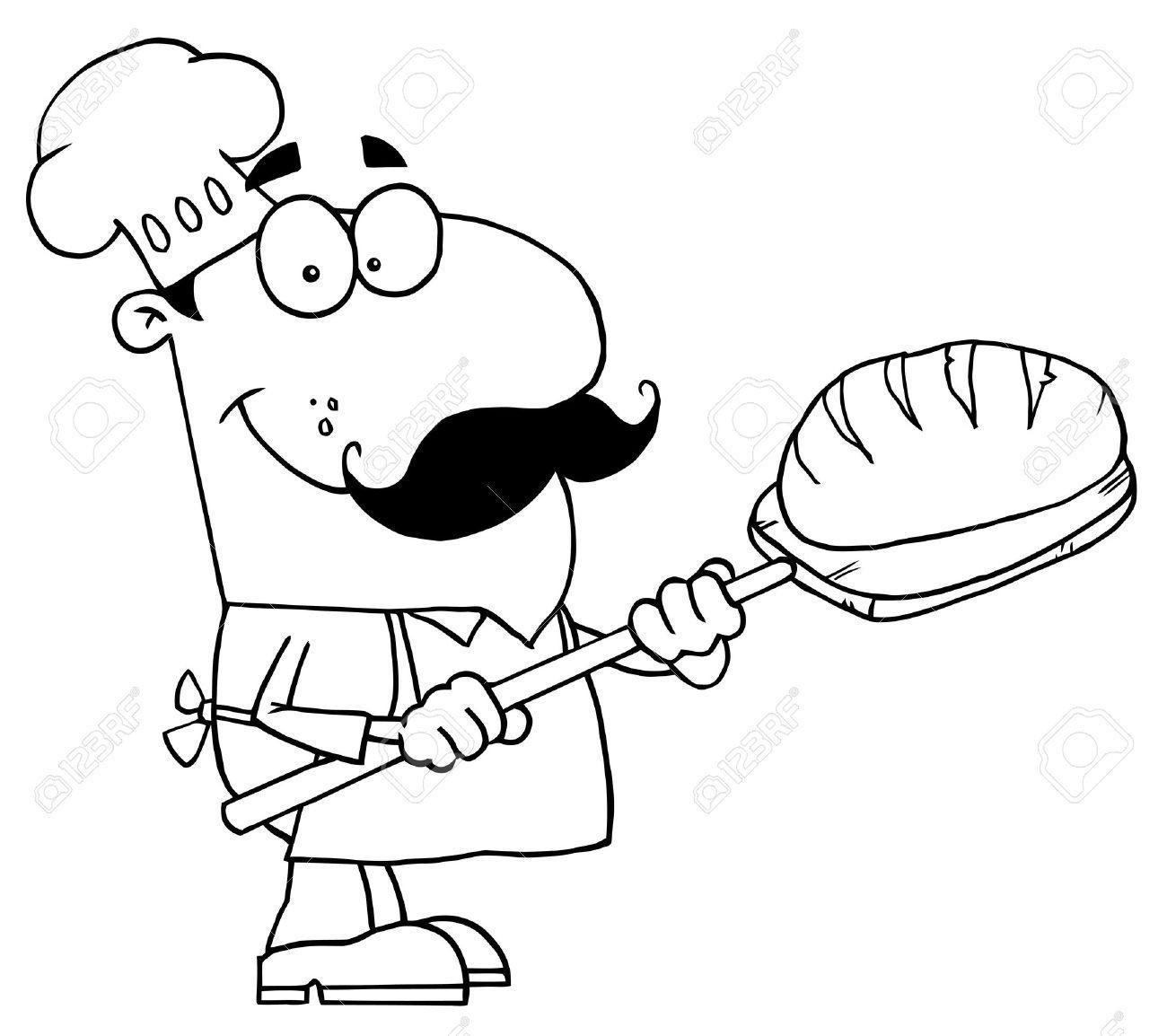 Black and white card. Baker clipart baker oven