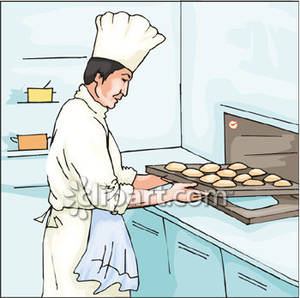 Pastry chef putting puffs. Baker clipart baker oven