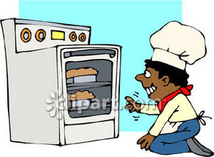 Baker clipart baker oven. African american looking into