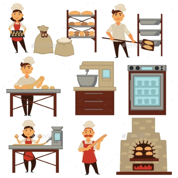 Baker clipart bakery. In shop baking bread