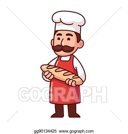 Bakery clipart baker. Vector art cartoon with