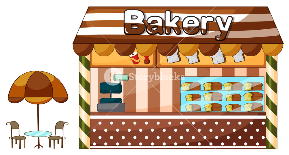 Illustration of a shop. Baker clipart bakery store
