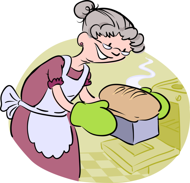 Grandmother bakes vector image. Baker clipart baking bread